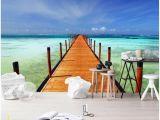 Sea Walls Murals for Oceans 3d Wallpaper Custom Mural Sea Wood Bridge Seaside Scenery Tv