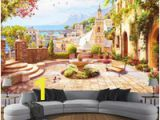 Secret Garden Wall Mural Custom 3d Wall Mural European Style Garden town Seascape Wallpaper Living Room Restaurant Waterproof Canvas Wall Painting