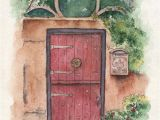 Secret Garden Wall Mural St Augustine Red Door Watercolor Print Gift Door Painting