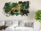 Self Adhesive Vinyl Wall Murals 3d forest Leopard Roar 44 Wall Murals Wall Stickers Decal