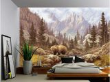 Self Adhesive Vinyl Wall Murals Grizzly Bear Mountain Stream Wall Mural Self