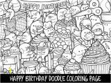 Selling Coloring Pages On Etsy Happy Birthday Doodle Coloring Page Printable Cute Kawaii
