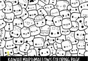 Selling Coloring Pages On Etsy Marshmallows Doodle Coloring Page Printable Cute Kawaii