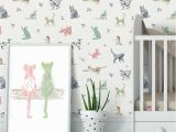 Shabby Chic Wall Murals Cat Wallpaper Removable Wall Paper Nursery Wallpaper Peel