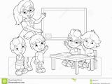 Shooting Star Coloring Page Cartoon Scene with Children and Teacher In the Classroom