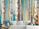 Silver Birch Wall Mural Custom Wall Cloth White Birch Trees Abstract Art Oil Painting Living