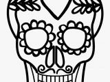 Simple Day Of the Dead Coloring Pages Easy Calavera Mask Heart and Mustache