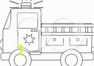Simple Fire Truck Coloring Page Clip Art Black and White
