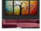 Simple Hand Painted Wall Murals Heavy Texture Painting Tree Of Life Painting 3 Piece