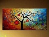 Simple Hand Painted Wall Murals Modern Tree Canvas Art Painting for Living Room Hand Painted
