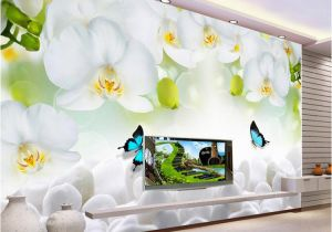 Simple Wall Mural Designs Modern Simple White Flowers butterfly Wallpaper 3d Wall Mural