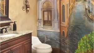 Small Bathroom Wall Murals Powder Bath with Venetian Mural
