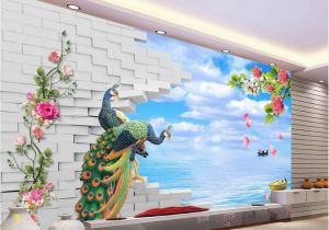 Small Size Wall Murals 3d Brick Wall Backdrop Painting Peacock Seaside Scenery Landscape