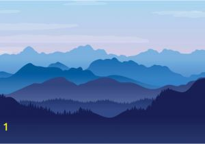 Smoky Mountain Wall Murals Blue Illustrated Landscape Wallpaper Mural