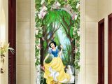 Snow forest Wall Mural 3d Snow White Princess Flower Arch forest Corridor Entrance