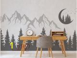 Snow forest Wall Mural Nursery Wall Decal Mountain Landscape with Bear Pine Tree