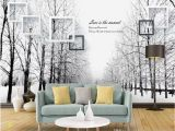 Snow forest Wall Mural Snow forest Wallpaper for Walls 3 D for Living Room Black and White Feelings Woods Road Art Background Wall Painting Desktop Wallpaper Wide Desktop