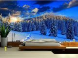Snow forest Wall Mural Snow Mountain Mural Wallpaper Nature Snow Wall Mural Self