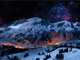 Snow Mountain Wall Mural Winter Mountain Scene