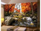 Snow Scene Wall Murals 3d Wallpaper Wall Mural River Waterfall Maple Nature