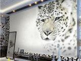 Snow White Wall Mural Custom 3d White Leopard Wallpaper Mural Stylish Backdrop