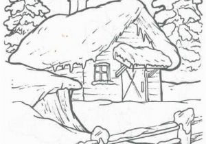 Snowy Mountain Coloring Page Birdhouse Cottages Trees and Landscape Embroidery Patterns