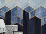 So Blue Gradient Cubes Wall Mural soft Blue Hexagons Wall Mural Wallpaper Abstract