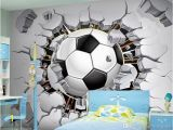 Soccer Ball Wall Mural Custom Wall Mural Wallpaper 3d soccer Sport Creative Art Wall Painting Livingroom Bedroom Tv Background Wallpaper Football Free 3d Wallpaper