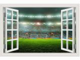 Soccer Field Wall Mural Amazon Guoxin12 3d Fake Window Wall Stickers