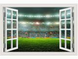 Soccer Goal Wall Mural Amazon Guoxin12 3d Fake Window Wall Stickers