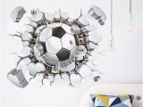 Soccer Wall Mural Decals Broken Wall Football 3d Vivid Wall Stickers for Kids Rooms Home