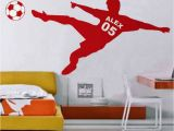 Soccer Wall Mural Decals Football Wall Sticker Personalized Name & Number soccer Ball Poster