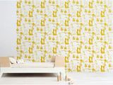 Solid Color Wall Murals forest Animals Kids Wallpaper Mustard