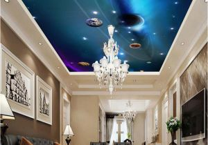 Space themed Wall Murals Custom 3d Ceiling Wallpaper Mural Space solar System Planet Bedroom