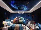 Space Wall Mural Wallpaper 3d Earth Planets Satellite Universe Entire Room Wallpaper