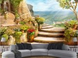 Space Wall Mural Wallpaper Custom Mural Wallpaper 3d Stereoscopic Space Balcony Stairs European Garden View Wall Painting Living Room Decor Wallpaper Free Wallpapers for