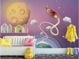 Space Wall Mural Wallpaper Nursery Wallpaper Cartoon Space Wall Mural for Child Planets