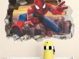 Spiderman Wall Mural Sticker Details About 3d Superhero Spiderman Mural Wall Decal