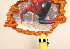 Spiderman Wall Murals Cartoon Hero Spiderman Through Wall Stickers for Kids Room Wall Art