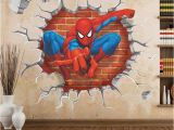 Spiderman Wall Murals Cartoon Superman Spiderman Wall Stickers for Kids Rooms 3d Sticker