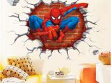 Spiderman Wall Murals Wallpaper 3d Printed Spiderman Wall Decor Kid S Room Stickers Halloween Christmas Decoration Eco Friendly Pvc Decals American Superhero Wall Removable Stickers