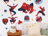 Spiderman Wallpaper Murals Movie Character 3d Cartoon Spiderman Wall Stickers for Kids Rooms