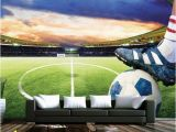 Sports Murals for Bedrooms 3d soccer Field Custom Wallpaper Sports Stadium Wall Mural In