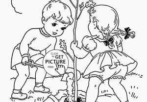 Spring Clothes Coloring Pages Children Plant Tree Coloring Page for Kids Spring Coloring Pages