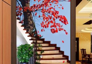 Staircase Wall Mural Ideas 3d Maple Tree Stair Corridor Entrance Wall Mural Decals Art