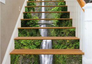 Staircase Wall Mural Ideas 3d Single Water Fall Stair Risers Mural Pvc Sticker Mural