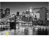 Star Trek Bridge Wall Mural Brooklyn Bridge Panoramic Peel & Stick Wall Mural Black & White 72