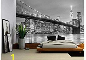 Star Trek Bridge Wall Mural Brooklyn Bridge Panoramic Peel & Stick Wall Mural Black & White 72