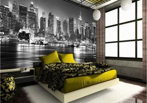 Star Trek Bridge Wall Mural New York City at Night Skyline View Black & White Wallpaper Mural