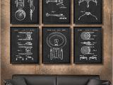 Star Trek Bridge Wall Mural Set Of 6 Star Trek Spaceship Posters Vintage Patent Illustration